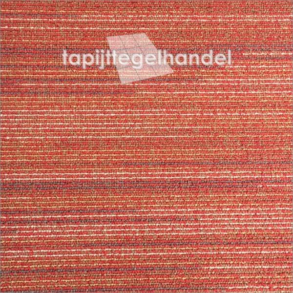 Tapijtegel rood met strepen