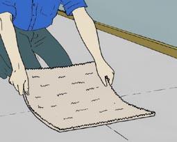 stap 2 bij het leggen van tapijttegels