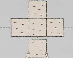 derde stap bij het leggen van tapijttegels