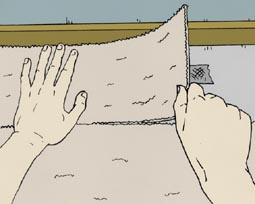8e stap bij het leggen van tapijttegels