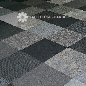 Deluxe boogie woogie tapijttegels in grijstinten per 50 m2 bij Tapijttegelhandel.nl